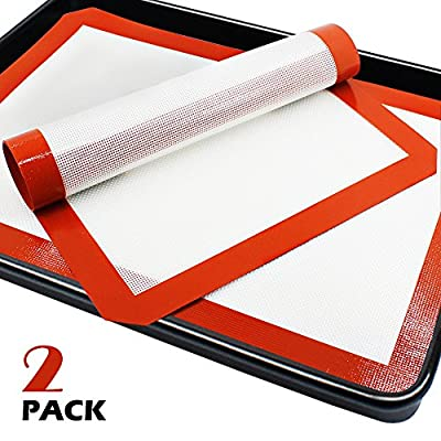 "SENHAI Premium Silicone Baking Mat for Healthy Cooking from The PhatMat,Parchment Paper Replacement for Cookies,Oven Reusable Liners sheet,Size 16.5"" x 11 5/8""- 2 Pack"