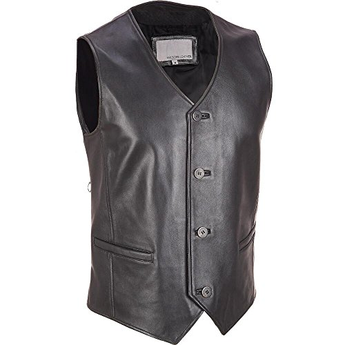 Wilsons Leather Mens Button Front Lamb Vest L Black (Wilson Leather Cleaner compare prices)
