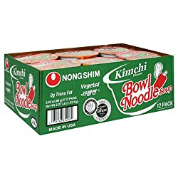 Nong Shim Bowl Noodle, Kimchi, 3.03-Ounce Packages, 12-Count (Pack of 2)