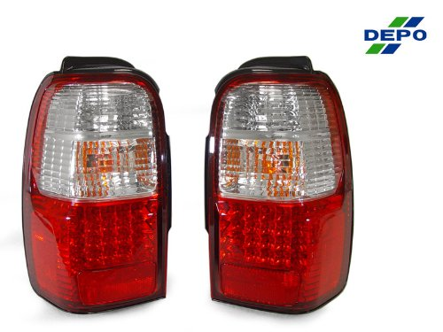 A Pair Of Depo Red And Clear Lense Led Tail Lights - Toyota 4Runner 1996-2000
