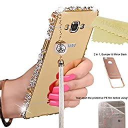 [1-Pack][2-IN-1]Samsung Galaxy J7/SM-J710 Case, AMASELL Luxury Bling 3D Sparkle Diamond Mirror+Aluminum Metal Frame Bumper With Pearl Tassels Hard PC Back Cover for Galaxy J7 2016, Gold with Bling