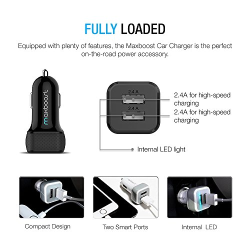 Maxboost-0700613057070-3ft-Apple-MFI-Certified-Smart-Port-Car-Charger-with-Lightning-Cable-Black