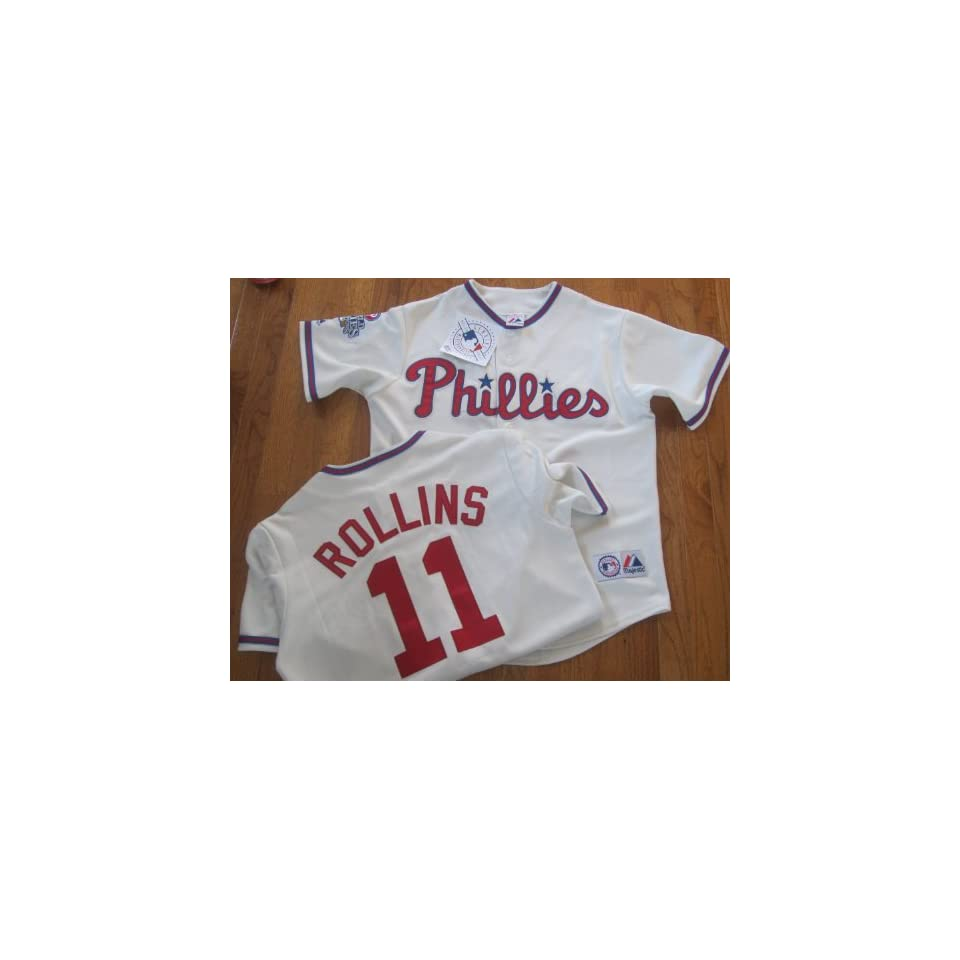 332a5a421 MLB New Jimmy ROLLINS  11 Philadelphia PHILLIES Lg Alternate CREME Baseball  Jersey Majestic