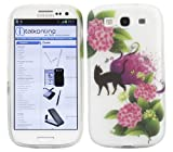 ITALKonline ProGel BLACK CAT PINK GREEN FLOWER Super Hydro Gel TPU Protective Armour/Case/Skin/Cover/Shell for Samsung i9300 Galaxy S3 III