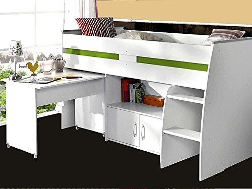 Hochbett Rean 1 204x110x177cm weiß Kinderbett Schreibtisch Kommode Kinderzimmer Bett jetzt bestellen