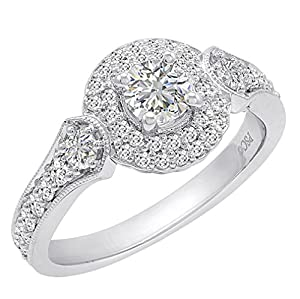 14K White Gold Halo Style Diamond Engagement Ring ( sizes 5-8) 1ct tw sz 8