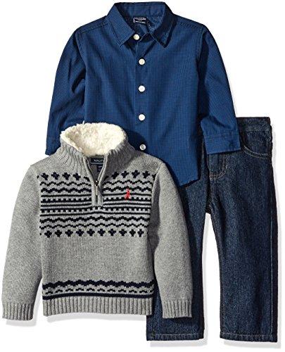 nautica-baby-three-piece-set-woven-shirt-quarter-zip-with-sherpa-sweater-and-denim-jean-medium-grey-