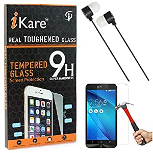 iKare Tempered Glass for Asus Zenfone 2 Selfie ZD551KL, Tempered Screen Protector for Asus Zenfone 2 Selfie ZD551KL + Black Stereo Earphone with Mic