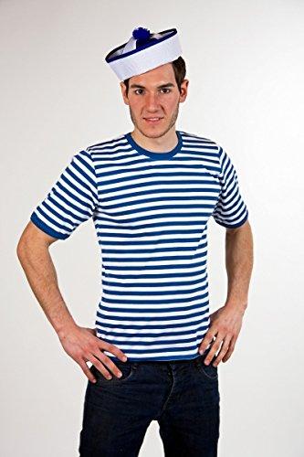 Ringelshirt - halbarm - blau/weiß - Größe: 8/XL