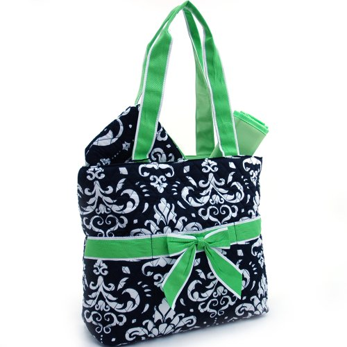 dasein-quilted-damask-print-3pc-diaper-bag-w-ribbon-accents-green-trim