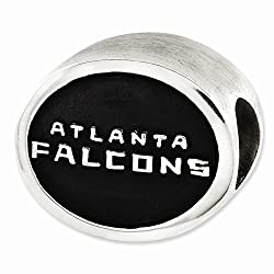 Sterling Silver Enameled Atlanta Falcons Nfl Bead