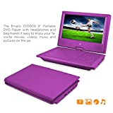 DVD Player, Ematic 9 inch Swivel Purple Portable DVD Player with Matching Headphones and Bag [ EPD909PR ]
