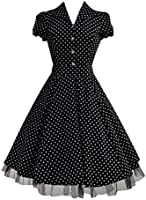 1950's Vintage Style Black White Polka Dot Classic Full Circle Party Jive Swing Shirt Dress