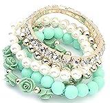 Shining Diva Fashion Pretty & Trendy Green Roses Bracelets for Girls