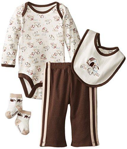 Vitamins Baby Baby-Boys Newborn Dog House 4 Piece Creeper Pant Set, Brown, 3 Months