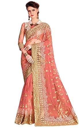 Panash Trends Women's Net Saree (UJJ.K680_Pink Color)