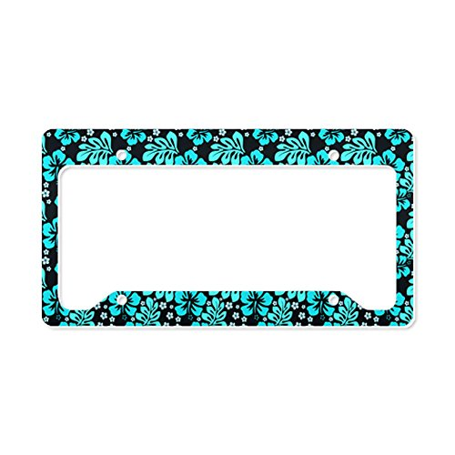 Cafepress Electric Blue Hawaiian Print License Plate Holder License Holder -