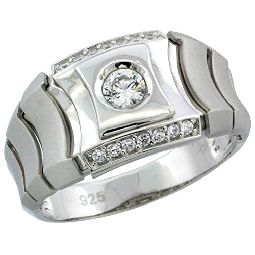 """Revoni-Bracciale in argento Sterling, da uomo, per orologio da uomo, con zirconia cubica, in. 1/2 """"(12 mm), Argento, 31, colore: argento, cod. SILV-RCZ859-14"""