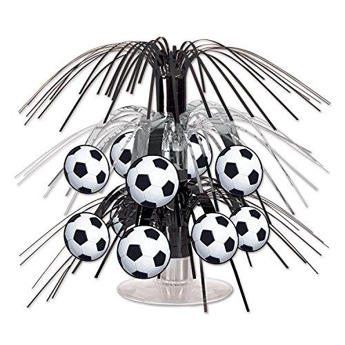 Beistle Soccer Ball Cascade Centerpiece, 71/2-Inch, Black/Silver/White