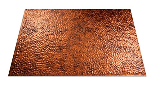 Fasade Easy Installation Hammered Moonstone Copper Backsplash Panel for Kitchen and Bathrooms (18