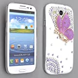 Purple Butterfly Diamond Bling Hard Case Cover For Samsung Galaxy S3 i9300