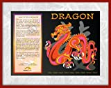 Asian Oriental Chinese Zodiac Poster with Wood & Glass Frame Year of the Dragon: Birth Years 1916 1928 1940 1952 1964 1976 1988 2000 2012