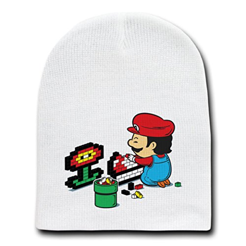 """Power Up"" Video Game Italian Plumber Parody - White Beanie Skull Cap Hat"