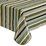 Earthtone Striped Tablecloth Vinyl with Umbrella Hole and Zipper 70 Round