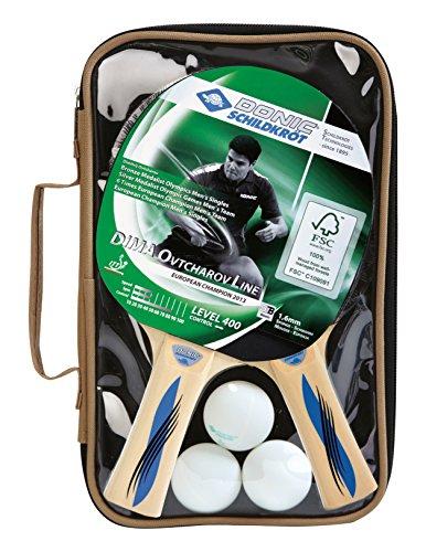 Donic-Schildkröt Tischtennis Set OVTCHAROV 400 FSC 2 Schläger 3 Bälle in wertiger Tasche, 788491