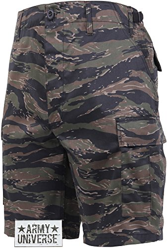 Tiger Stripe Camouflage BDU Cargo Shorts with ARMY UNIVERSE Pin Size Large Tiger Stripe Camouflage Shorts