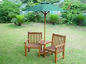 Chatsworth love seat with cushions parasol set amazon for Garden love seat uk