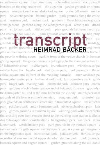 transcript (German and Austrian Literature Series)