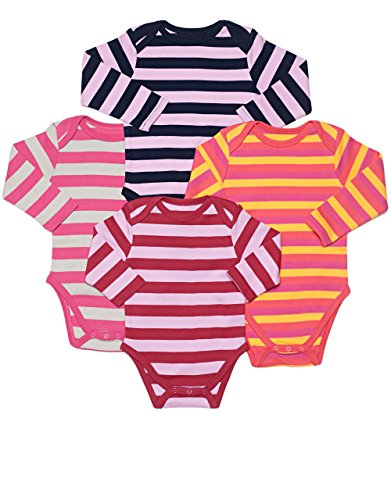 Leveret Long Sleeve 4-pack Striped Girls Bodysuit 100% Cotton (Size 0-24 Months) (12-18 Months, Multi)