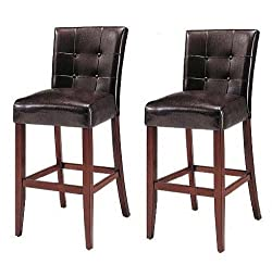 "Set Of 2 Counter Height 24"" Parsons Stools With Brown Finish Solid Wood Legs"
