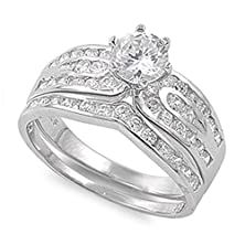 buy Sterling Silver Wedding Set Engagement Ring Clear Round 7Mm Size 10 (Rng10093-10)