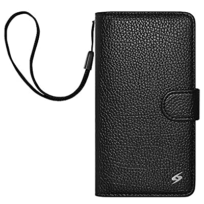 AMZER Flip Folio Cover with Credit Card Slot Cell Phone Case for BlackBerry Z30 - Retail Packaging - Black by Amzer