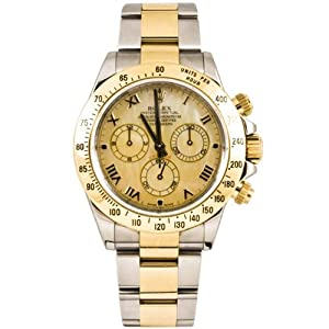 Rolex 40mm Stainless Steel & 18K Gold Daytona Model 116523 Champagne Mother Of Pearl Roman Dial Inner Bezel Engraving Model