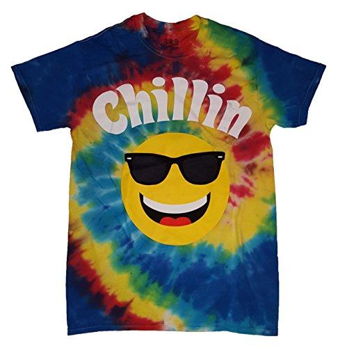 Chillin Rainbow Smiley Face Tie Dye T-Shirt
