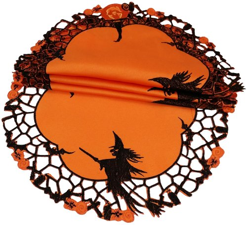 Xia Home Fashions Witch Embroidered Cutwork Round Doily, 12-Inch, Set Of 4 front-513967