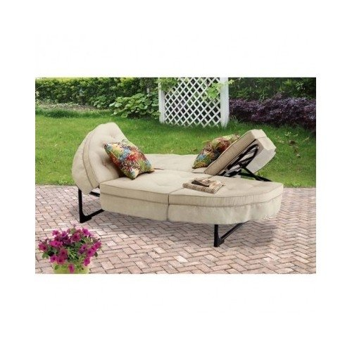 Outdoor Lounge Chair Beige & Large Enough For A Few People.Nice Addition To Your Outdoor Patio Set.Garden Sale. Use This Peice Of Outdoor Furniture To Relax & Sunbathe.