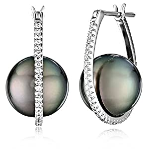 TARA Pearls Natural Color Tahitian Cultured Black Pearl with Diamond (1/3cttw, G-H Color, SI1-SI2 Clarity) Earrings