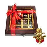 Chocholik Belgium Chocolate Gifts - Decadent Flavors In A Beautiful Wooden Box With Ganesha Idol - Diwali Gifts