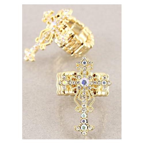 Fashion Jewelry Desinger Inspired Gold Cross Symbol Ring