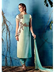 STYLISH TURQUOISE COTTON SATIN STRAIGHT EMBROIDERED SUIT BY KIMORA HEER 7