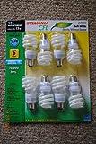 PACK OF 8 SYLVANIA CF13EL CFL SOFT WHITE LIGHT BULBS 13 WATT REPLACES 60 WATT 2700K