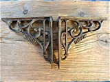 FANTASTIC PAIR ANTIQUE STYLE GNER RAILWAY CAST IRON SHELF BRACKETS