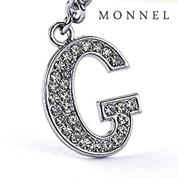 Z290 Bling Crystal Alphabet Initial DIY Letter G Keychain Key Ring for Pet Dog Cat Collar by monnelF by monnelF