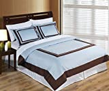 Hotel Blue and Chocolate 3-Piece King / Cal-King Duvet-Cover-Set, 100-Percent Cotton, 300-Thread-Count