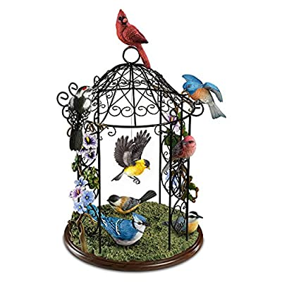Songbird Haven Sculpture With Wrought Iron Gazebo And 8 Lifelike Songbirds by The Bradford Exchange
