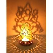Hashcart Shadow Laxmi Ji Tea Light Candle Holder For Home Décor